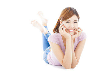 smiling young woman lying on the floor