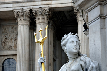 Detail of statue at st pauls cathedral with trident