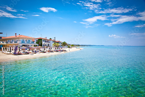 canvas print picture Beautiful Pefkochori beach on Kasandra, Greece.
