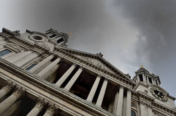 St Pauls Cathedral facade at angle under grey sky