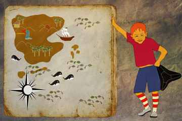Boy pirate and treasure map
