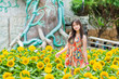 Cute Thai girl standing in the beautiful sunflower scene