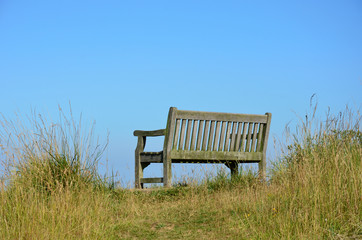 Empty wooden bench in countryside