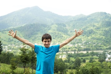 boy and mountains