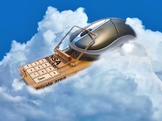Cloud mit Mouse, Mausefalle. NSA Abhörsicherheit