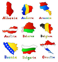 map set of Europe countries