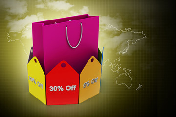 Shopping bag with discount tags