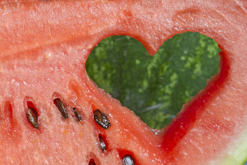 Watermelon with heart shape love fruits concept