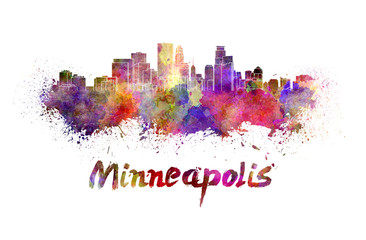 Minneapolis skyline in watercolor