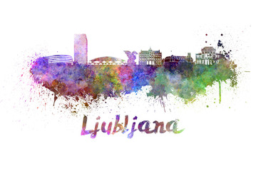 Ljubljana skyline in watercolor