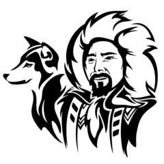 eskimo man with husky dog