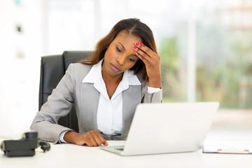 sad african american businesswoman