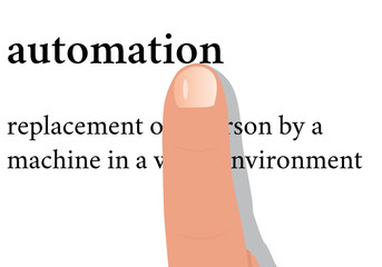 dictionary word of automation with a finger on it