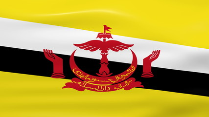 Waving Brunei Flag, ready for seamless loop.