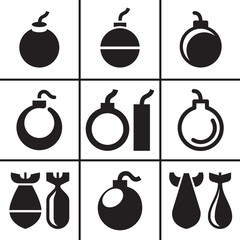 Bombs and rockets icons set vector illustration