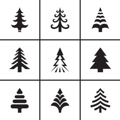 Christmas fir tree icons set vector illustration