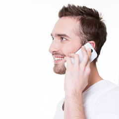 Profile portrait of  happy man calling by mobile.