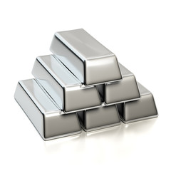 Silver bullions isolated on white. Pyramid from bars ingots