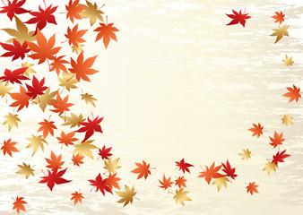 風に舞う紅葉の背景