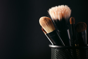 Cosmetics brushes in a wire container