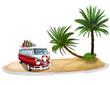 Karibikinsel mit Palmen und Wohnmobil, freigestellt - 67906207