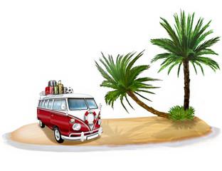 Karibikinsel mit Palmen und Wohnmobil, freigestellt