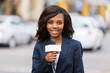 female african news reporter working outdoors - 67906646