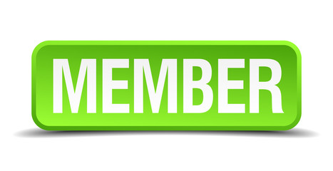 Member green 3d realistic square isolated button