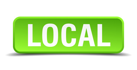 Local green 3d realistic square isolated button