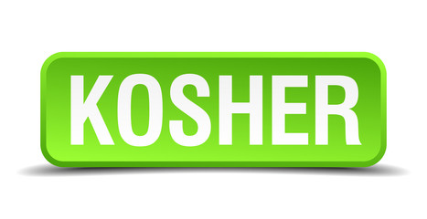 Kosher green 3d realistic square isolated button