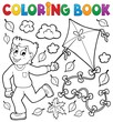 Coloring book with boy and kite