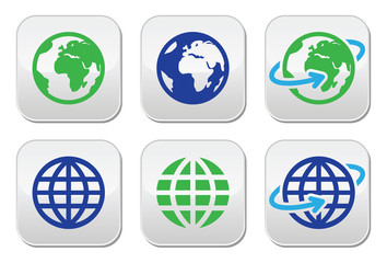 Globe earth vector buttons in color