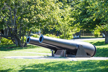 Two Old Iron Cannons in Maine Park