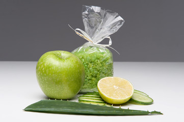Spa set including apple, salt, aloe, cucumber