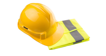 Yellow hard hat and yellow reflective best over white background