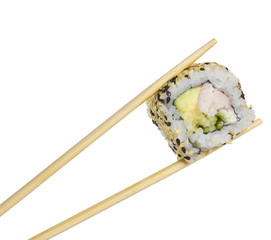 California sushi roll in chopsticks isolated on white background