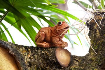 Frog statue in garden