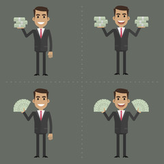 Businessman and money in different poses