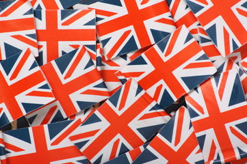 Miniature Union Jack Flags make a background