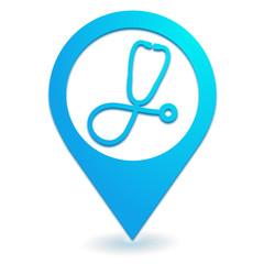 médecin sur symbole localisation bleu