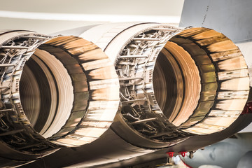 closeup of military fighter jet engine thrust cowlings