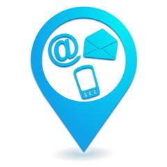 nous contacter sur symbole localisation bleu