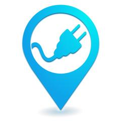 prise électrique sur symbole localisation bleu