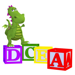 Cartoon dragon with abc blocks