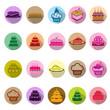 Birthday cake icons set with long shadow, Illustration eps10