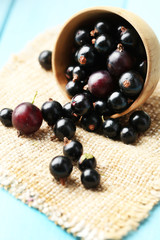 Ripe blackcurrants in bowl on wooden background.