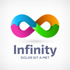 Infinity loop logo design template icon with arrows.