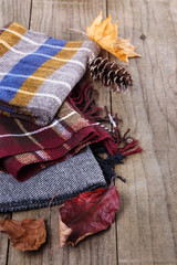 Autumn (fall) still life with scarves