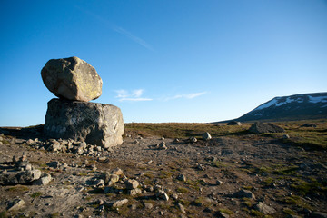 Big boulders on mountain plateau Valdresflye, Jotunheimen