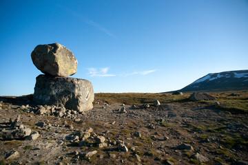 Big boulders on mountain plateau Valdresflye, Jotunheimen